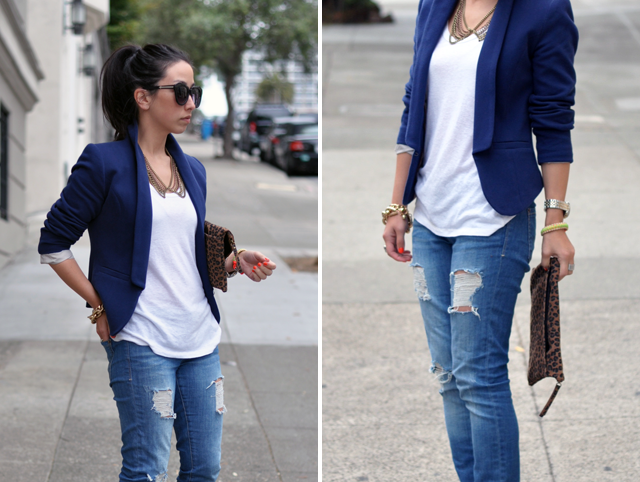 With so many different kinds of jeans, blazers and accessories, the jeans / blazer style fits almost every occasion. You can opt for a traditional look, feminine look or semi-formal look. You can choose skinny jeans, flares, ripped jeans or even print jeans.
