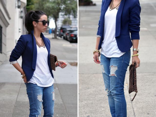 Creative Womenu0026#39;s Blue Silk Blazer White Button Down Blouse Black Dress Pants Black Leather Ankle Boots ...