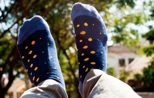 Blue socks with yellow fish from Macy's - @prajaret / Praveen Rajaretnam