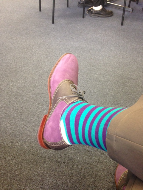 Bright and cheerful socks, @sockguru / Benjie