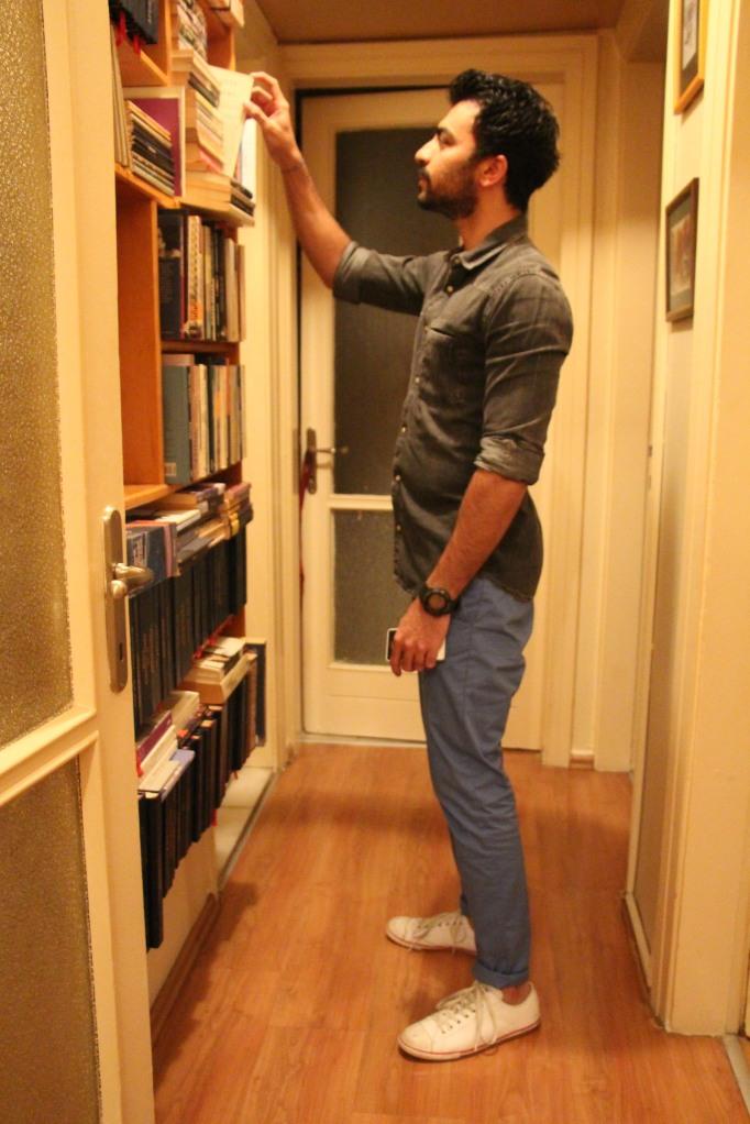 On Manoj, Black Denim Shirt by Mango HE, Blue Chinos by Bershka, Watch by G Shock, Shoes by Converse