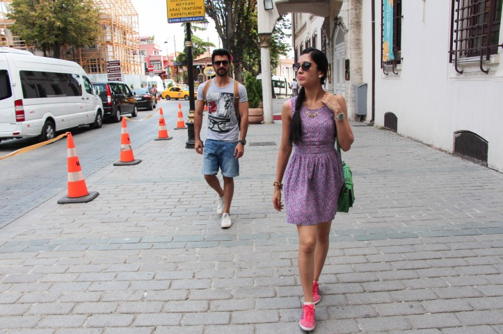 Walking up to the Sultan Ahmed area. On Sheral - Cateye Shades by Tom Ford, Dress by Forever 21, Neckpiece by Aldo, Shoes by Adidas Originals, Green Cambridge Satchel from Accessorize. On Manoj Kr - Shades by Armani, Watch by GShock, Shoes by Converse, Tee by Bershka, Denim Shorts by H&M.