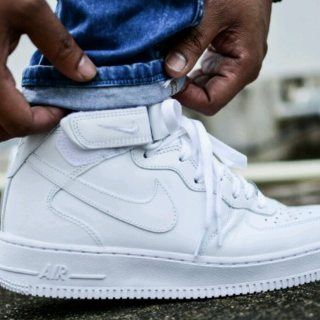 Nike Air Force 1 Mid White on White