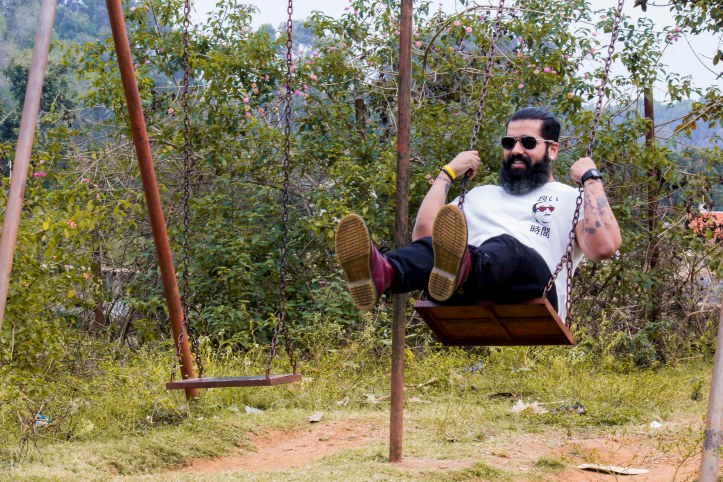 Playing on a swing Beards