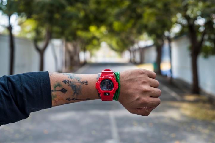 G Shock Red On Wrist