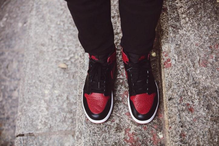 35fda5b7e76 Nike Air Jordan 1 Bred – Up Close and Review – bowties and bones
